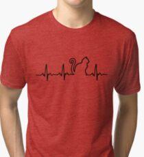 Cat Heartbeat Tri Blend T Shirt