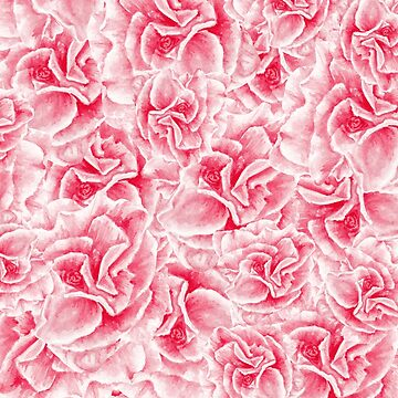 pattern with watercolor pink flowers by lisenok