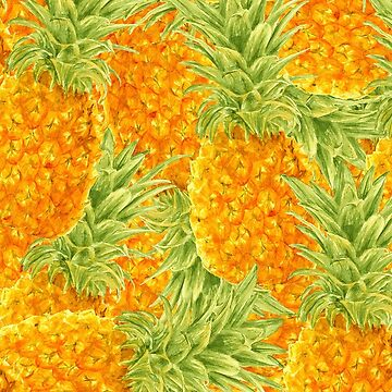 watercolor pattern with pineapples by lisenok
