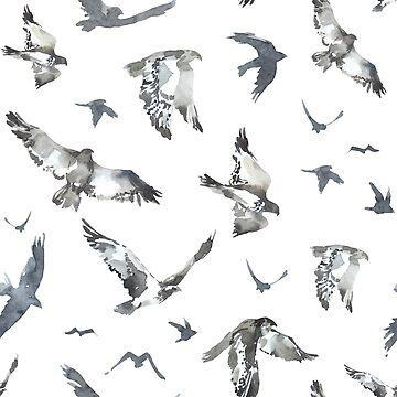 Modern gray watercolors birds pattern by artonwear