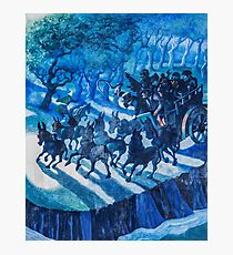 Blue painting of a speeding cart and teams of horses  Photographic Print