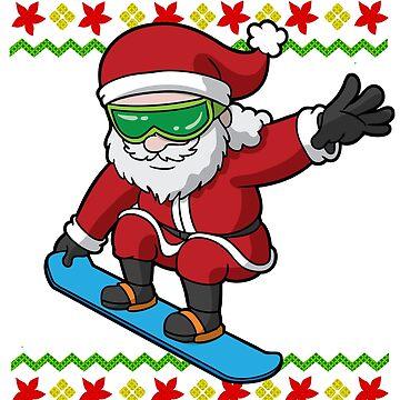 Santa Snowboarding Ugly Christmas by frittata