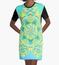 Grasshopper Katydid Leaves and Fauna Fall Into Winter Collection by Green Bee Mee Graphic T-Shirt Dress