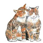 Cats in Love - White Background by CarolineLembke