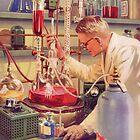 «Laboratorio de ciencia retro del laboratorio científico de los años 50» de Maljonic