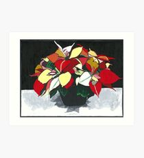 POINSETTIAS - POINSETTIA PAINTING - BLACK, GREY, RED, & GREEN Art Print