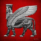Assyrian Winged Bull - Silver and Black Lamassu over Red Leather by Serge Averbukh