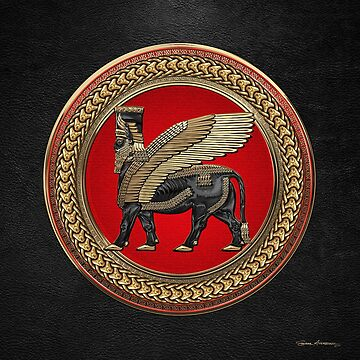 Assyrian Winged Bull - Gold and Black Lamassu on Red and Gold Medallion over Black Leather by Captain7