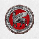 Assyrian Winged Bull - Silver and Black Lamassu on Red Silver Medallion over White Leather by Serge Averbukh