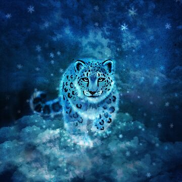 Spirit Snow Leopard in Mystical Twilight Sky by jitterfly