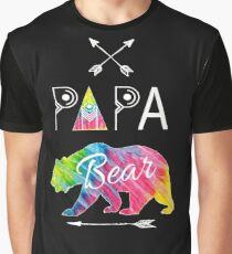 Papa Bear Tie Dye Matching Family Camping Vacation Gifts Graphic T-Shirt