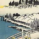 A Bridge In The Snow by Utagawa Hiroshige (Reproduction) by Roz Abellera