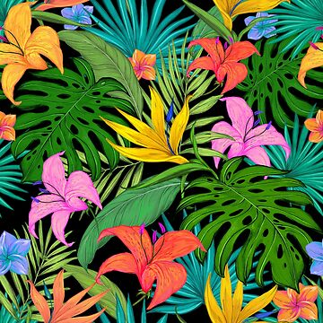 Tropical Floral & Leaves Bright Botanical Pattern by crazycanonmom
