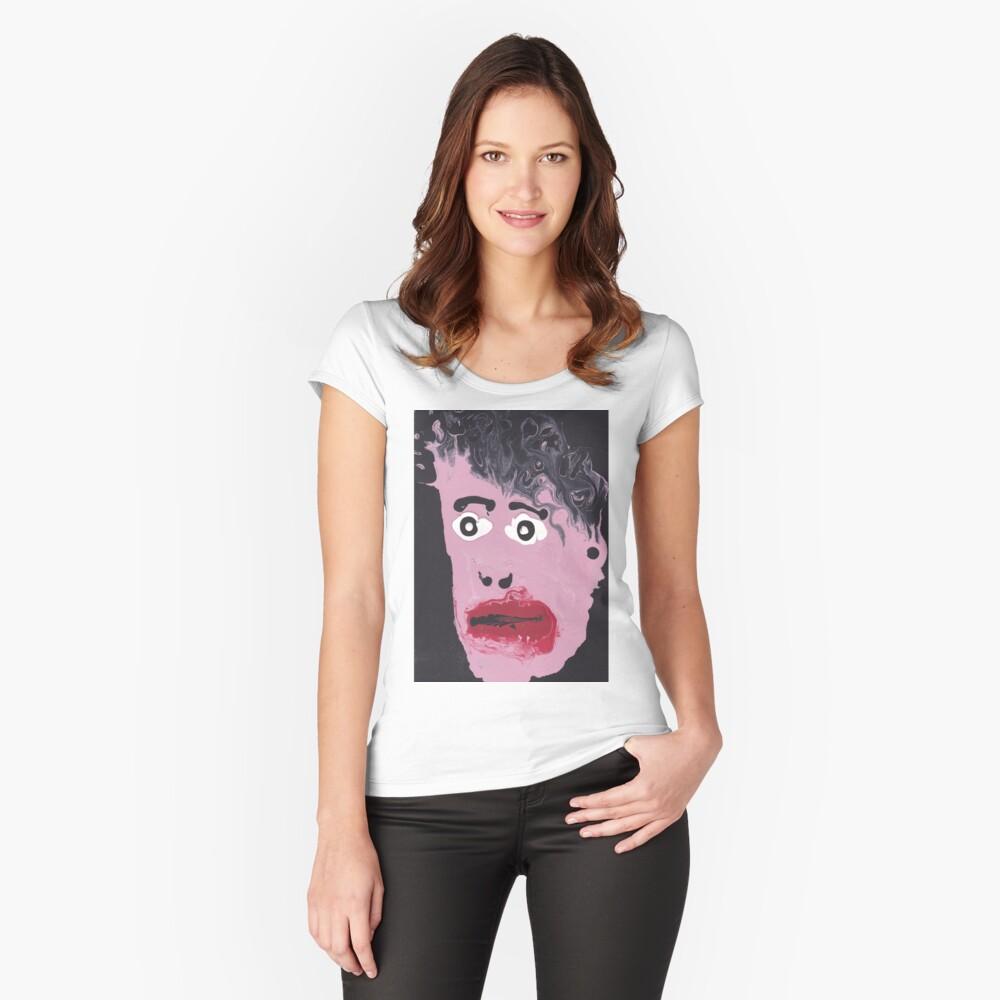 T-shirt moulant échancré «Qui est-ce?»