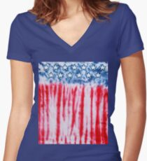 USA Tie Dye | Colorful Vintage Retro 70's 80's 90's Art Women's Fitted V-Neck T-Shirt