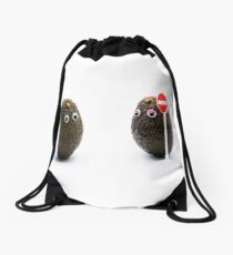 Romantic avocados couple with googly eyes  Drawstring Bag