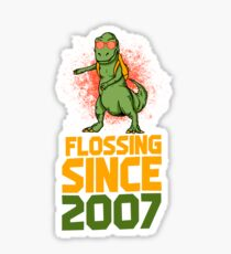 Flossing since 2007 Dinosaur gift Sticker
