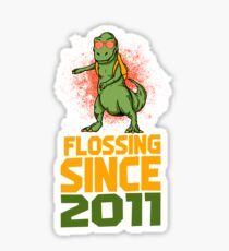 Flossing since 2011 Dinosaur gift Sticker