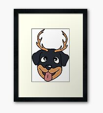 Rottweiler with antler Framed Print