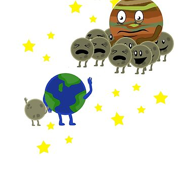 Earth Jupiter With Moon Kids Parents T-Shirt by Ducky1000