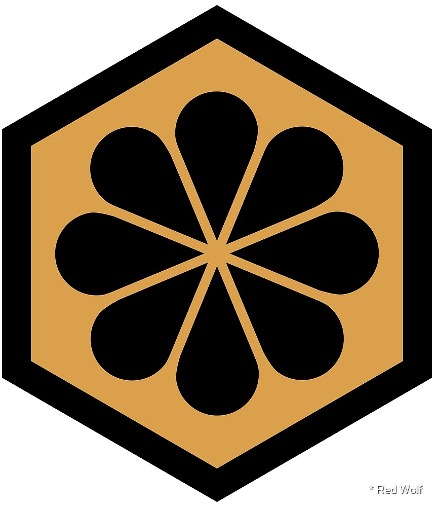 Geometric Pattern: Hexagon Flower: Black/Gold by * Red Wolf