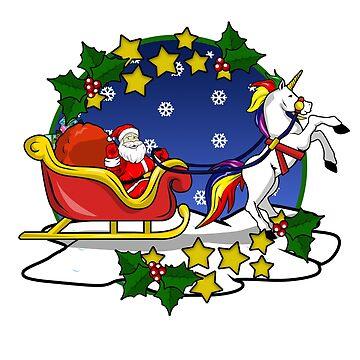 Santa Claus Unicorn Christmas Funny T-Shirt  by Ducky1000