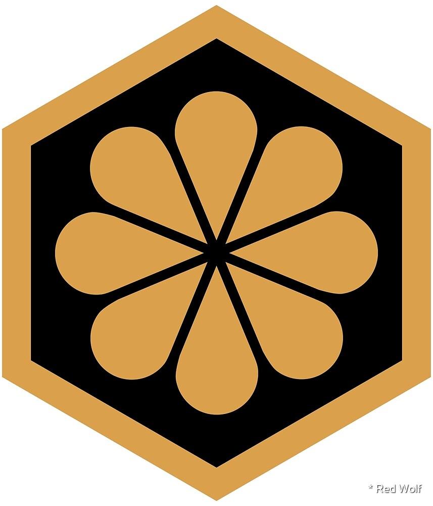 Geometric Pattern: Hexagon Flower: Gold/Black by * Red Wolf