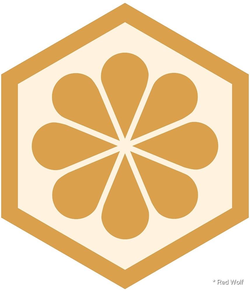 Geometric Pattern: Hexagon Flower: Gold/Cream by * Red Wolf