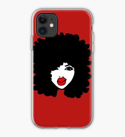 Natural Hair Afro Curls Red Lipstick Makeup Queen iPhone Case