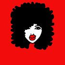 Natural Hair Afro Curls Red Lipstick Makeup Queen by EllenDaisyShop