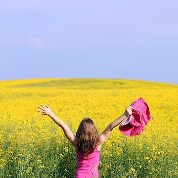 little girl with hands up enjoy spring season by goceris