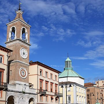 clock tower landmark Piazza Tre Martiri Rimini Italy by goceris