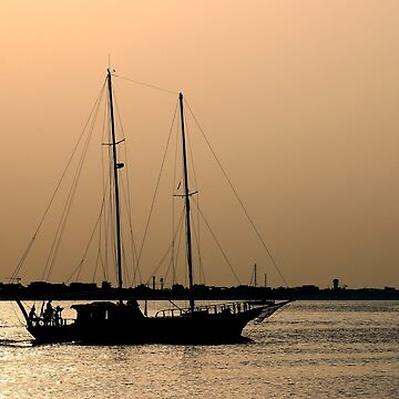sailboat silhouette on sea summer season by goceris