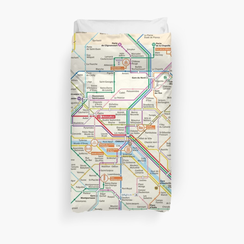 Paris Subway Map - France Duvet Cover