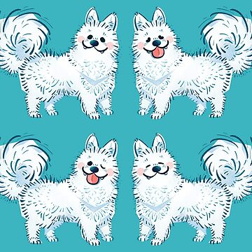 Samoyed in Teal  by Paigekotalik