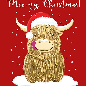 Scottish Highland Cow, Moo-rry Christmas Wee Hamish by brodyquixote