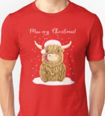 Scottish Highland Cow, Moo-rry Christmas Wee Hamish Slim Fit T-Shirt