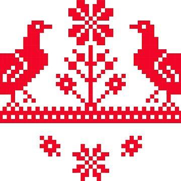 Ornamento eslavo con pájaros de AliceChaine