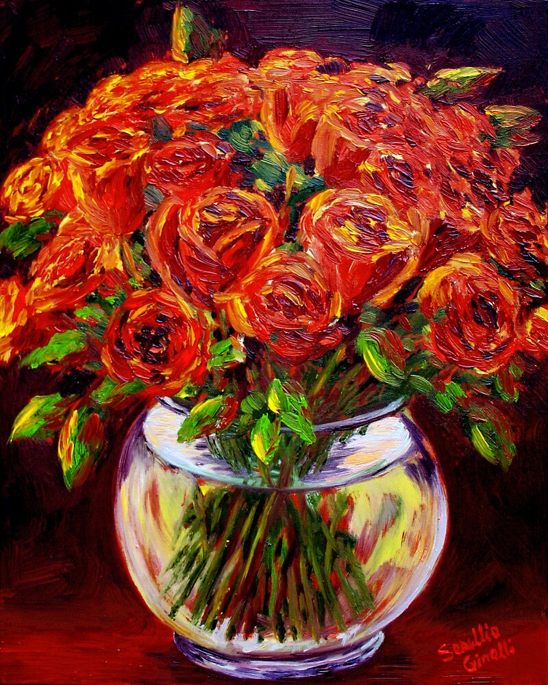 Roses in a Vase by sesillie