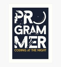 programmer - coding at the night Art Print