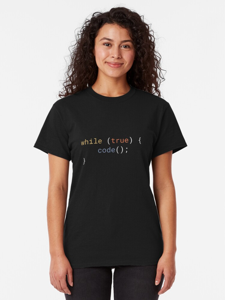 Alternate view of JavaScript - While True Code Classic T-Shirt