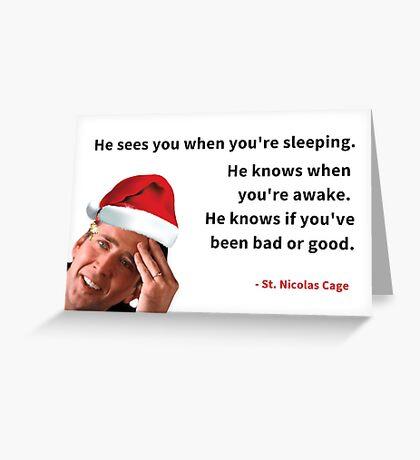 Tarjeta de felicitación de Navidad Nicolas Cage, invitación de fiesta, tarjeta de Navidad divertida, tarjetas de felicitación Meme Tarjeta de felicitación