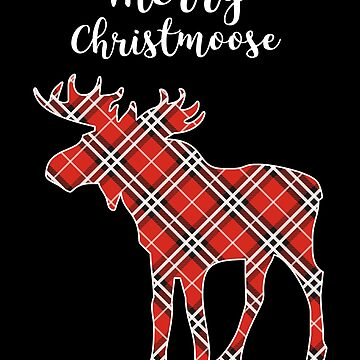 Merry Christmoose Funny Christmas Moose Plaid Pattern by JapaneseInkArt