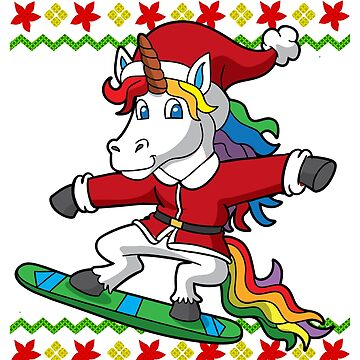 Unicorn Santa Snowboard Ugly Christmas by frittata