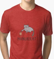 Hanukkat - Hanukkah Cat Playing With Dreidel Tri-blend T-Shirt