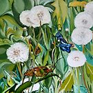 Grasshoppers and Dandelions (Oil Painting) by MariaSibireva
