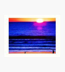 Psychedelic Beach Sunset Art Print