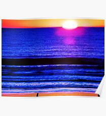 Psychedelic Beach Sunset Poster