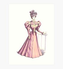 Victorian Fashion Lady In Pink Art Print
