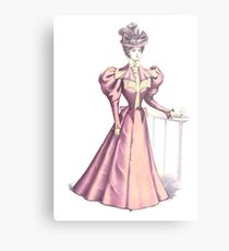Victorian Fashion Lady In Pink Metal Print